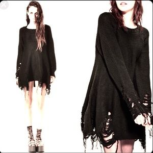 UNIF Distressed Destroyed Sweater Dress Boho